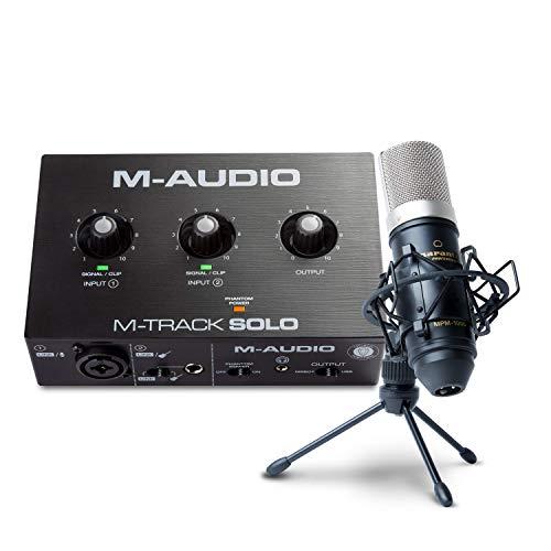 Paquete para grabación, streaming y pódcast de M-Audio: interfaz de audio USB M-Track Solo y micrófono de condensador Marantz MPM-1000