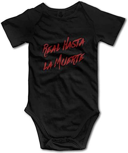 Real Hasta La Muerte Romper Toddler/Infant Bodysuit Super Soft Jumpsuit T Shirt for Baby Black