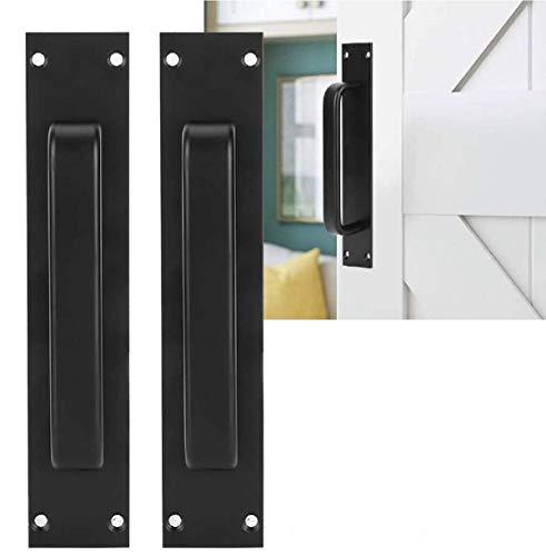 Manija de puerta de granero corrediza negra Xuee, manija de cocina / muebles / armario / armario / cajón para cobertizo de garaje de puerta de granero corrediza (2 piezas)