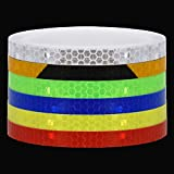 Reflective Tape Outdoor Safety Warning Lighting Sticker Waterproof Bike Reflector Tape for Car, Bicycle, Motorcycle Rim Self-Adhesive DIY Decoration (6 Colors-Blue Red Green White Yellow Black+orange)