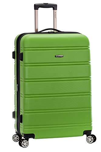 Rockland Melbourne Hardside Expandable Spinner Wheel Luggage, Green, Checked-Large 28-Inch