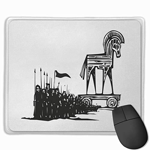 Mouse Pad,Desk Mousepad,Odyssey Woodcut Geïnspireerd Expressionist Beeld van Grieks Trojaans Paard en Wandelen MenCharcoal Grijs Wit