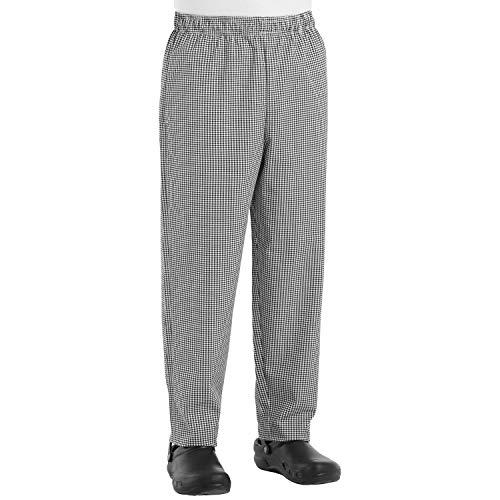 Chef Designs Men's Baggy Chef Pant, Black/White Check, Medium