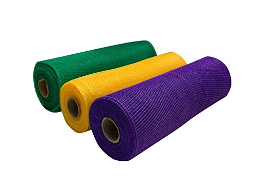 Green, Yellow Gold, Purple Deco Mesh - 10' x 10 Yards, Set of 3 Rolls, Easter, Mardi Gras, Fat Tuesday, Carnival, Spring Decor for Bows, Gifts, Wreath, Swags, Garlands, Masks