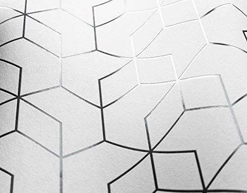 NEWROOM Tapete Weiß Geometrisch Sechseck Grafik Vliestapete Weiß Vlies moderne Design Optik Grafiktapete Modern inkl. Tapezier Ratgeber