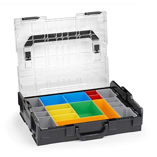 Sortimo Bosch L-BOXX 102 Kunststoff Werkzeugkoffer schwarz Deckel transparent mit Insetboxen-Set H3 Sortierboxen für Kleinteile | ideale Schraubenaufbewahrung System