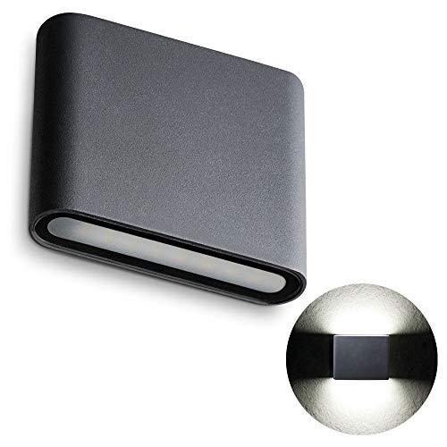 SSC-LUXon TWEE Wandleuchte Aussen Up Down IP54 mit 8W neutralweiß 230V - moderne zweiflammige Aufbau Wandlampe in anthrazit