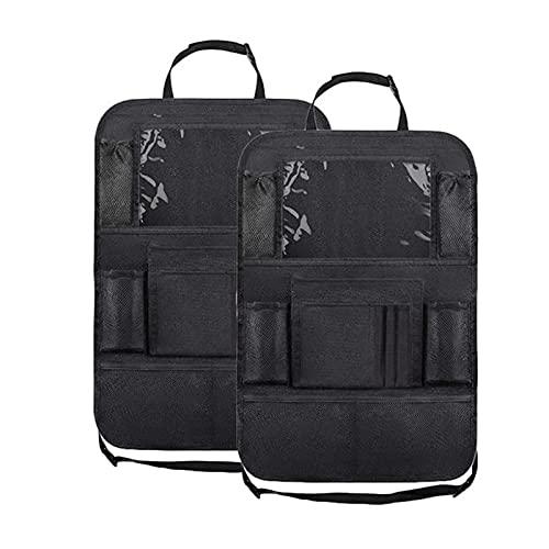 WEID Organizador de asiento trasero con soporte táctil + 9 bolsillos de almacenamiento para patadas, respaldo del asiento de coche (nombre del color: 2 piezas)