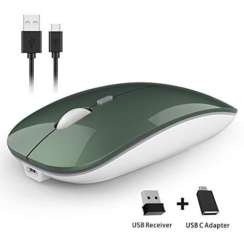 Uiosmuph Mouse Wireless Ricaricabile, U5 Mouse Senza Fili Silenzioso 2.4G Mouse del Computer con Ricevitore USB Nano e Adattatore di Tipo C Compatibili con Laptop/PC/Mac(Verde)