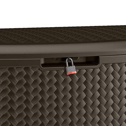 Suncast 124 Gallon Resin Extra Large Deck Storage Cabinet, Mocha Herringbone