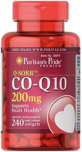 Puritan's Pride CoQ10 200mg, Supports Heart Health, 240 Rapid Release Softgels, Brown