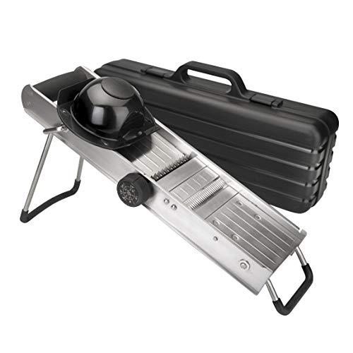 Lacor - 60357 - Mandolino, Con acciaio inossidabile Swivel Protector e Blades, Piedi e maniglia non scivolati, Ideale per il taglio di patate, verdure, frutta, cucina professionale, 12,5 x 50 cm, acciaio inossidabile