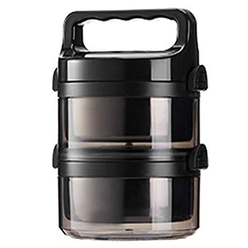 Electric oven Aislamiento Caja de Almuerzo del Acero Inoxidable portátil Multi-Capa de Aislamiento Cubo de Cuatro Capas de Gran Estudiante Fresco de Mantenimiento de la Caja (Color : Black 2 Layers)