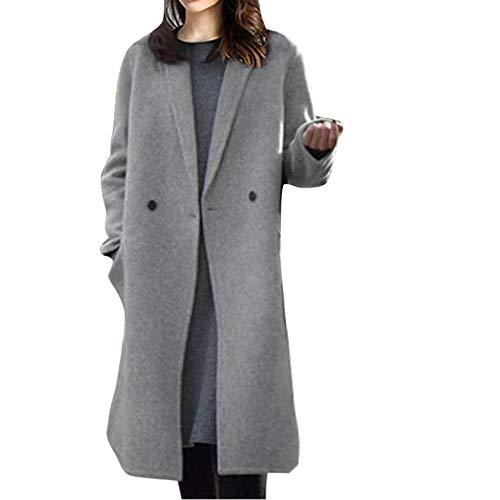 LIMITA Damen Winter Revers Wollmäntel Trenchcoat Langer Parka Mantel Outwear Fleecejacke für Damen Damen Windjacke Mittellange Wollmäntel