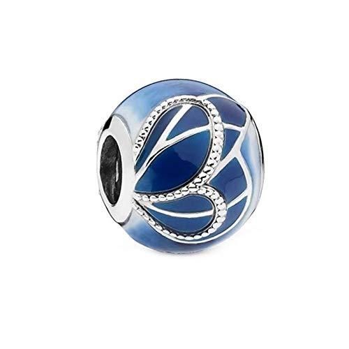 pandora 925 plata esterlina DIY colgante joyería azul esmalte mariposa único conjunto ala granos mm pulsera haciendo joyería de moda para las mujeres