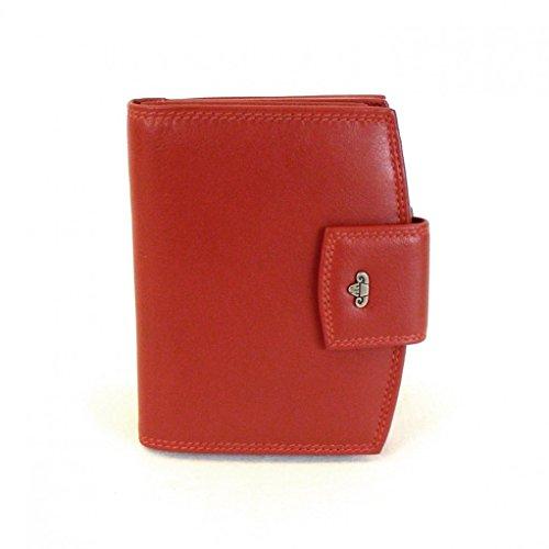 HGL Damen Geldbörse Bügelbörse echt Leder rot Riegel doppeltes Rückfach 9792