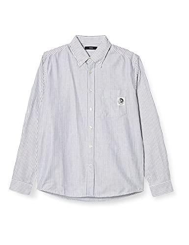 (ディーゼル) DIESEL メンズ シャツ モヒカンラベル ストライプ ボタンダウン オックスフォード 00SD7X0TAXX S ホワイト×ブラウン 100A