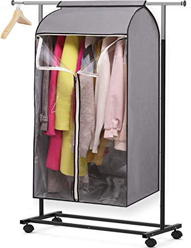 MISSLO 43 Hanging Garment Bags for Storage Well Sealed Clothes Dust Cover with Large Clear Window and 3 Zippers Opening for Suit Coat Closet Rack Rack not Included