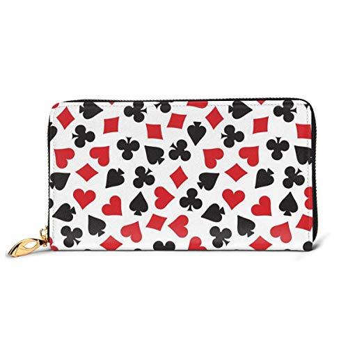 Spielkarte Anzug Casino Muster Brieftaschen für Männer Frauen Kartenhalter Geldbörse Reißverschluss Schnalle Elegante Kupplung Damen Münzgeldbörse