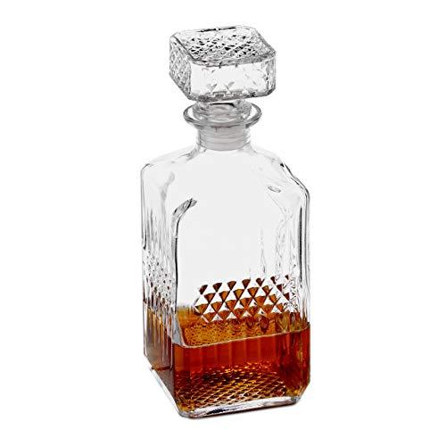 Relaxdays Whisky Karaffe, Glas, Dekanter für Whiskey, Cognac, Rum, Gin, 900 ml, Schnaps Karaffe Heimbar, transparent 10027876