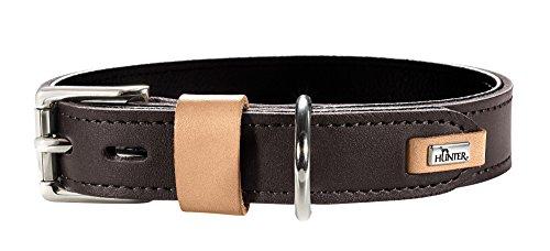 Hunter Bombay - Collar de Piel para Perro, Suave, 45 (S), Color marrón Oscuro