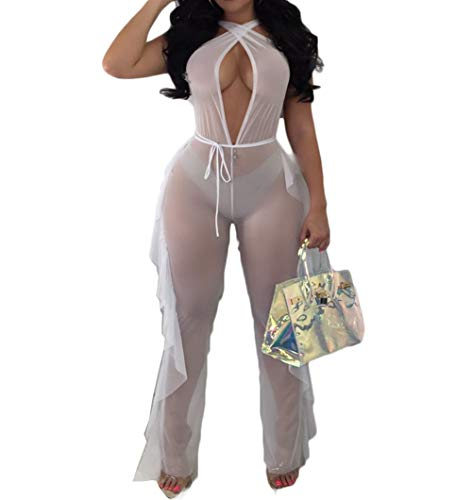 Women See Through Sheer Mesh Bandage Two Piece Bikini Cover Up Hoodie Crop Tops and Legging Pants (S, White-Jumpsuits)