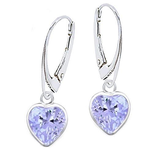 Orecchini a monachella con zirconi, a forma di cuore, in vero argento 925, idea regalo, Vetro, zirconia cubica,