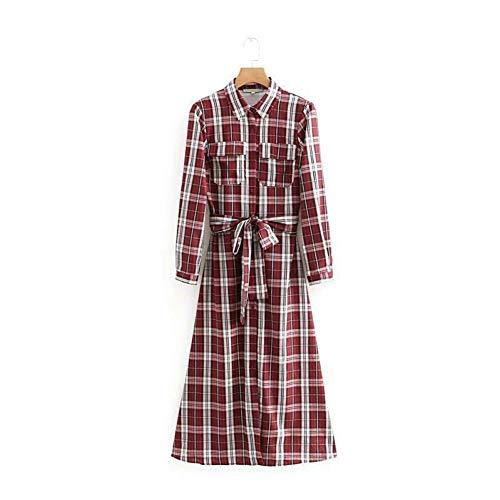 SYDGJLYQ Frauen rot Kariertes langes Hemd Gürtel Langarm Damen 2019 Herbst Kleider Vintage 60er Jahre Womens Tuniken