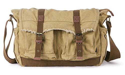 Gootium Canvas Messenger Bag - Vintage Shoulder Bag Frayed Style Boho Satchel, Khaki
