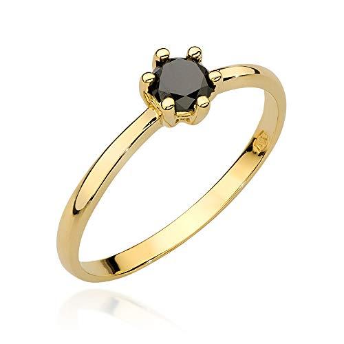 Anillo de compromiso para mujer, oro amarillo 585 de 14 quilates, diamante negro natural
