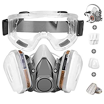 Respirator Mask,Half Facepiece Gas Mask with Safety Glasses Reusable Professional Breathing Protection Against Dust,Chemicals,Pesticide and Organic Vapors Perfect for Painters and DIY Project