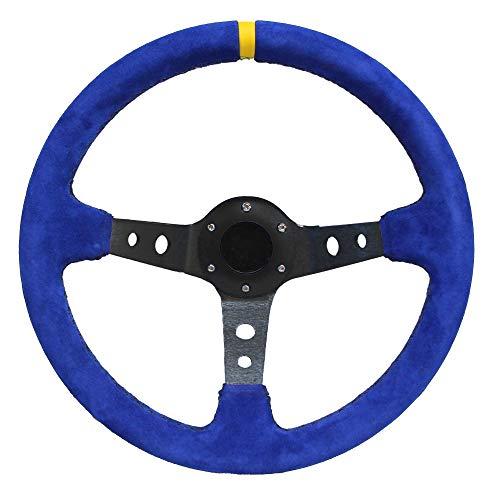 Modauto - Volante Deportivo Universal, Desplazado, de Piel Vuelta, Diámetro 350mm, Modelo G004, Azul