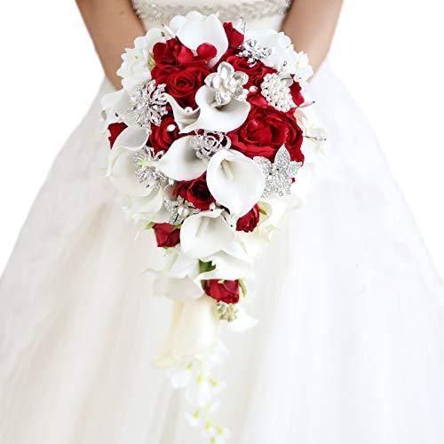 Iffo Bouquet de mariage avec fleurs, perles et diamants arti