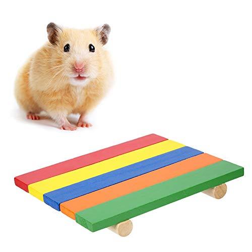 Hamster Platform speelgoed, rechthoekige kleurrijke houten Springplank speelgoed Hamster Stand klimbord kleine dieren hout Stand Platform voor muizen Chinchilla Chipmunk(Kleurrijk)