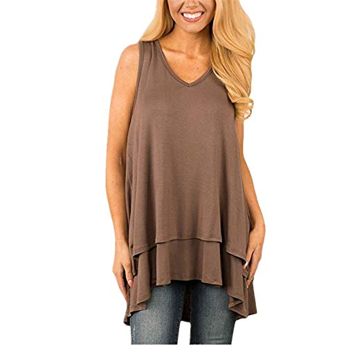 Tank Top Women Solid Color Sleeveless Casual T-Shirt with Round Neckline New 2020 Summer Loose Thin Top Sexy Casual Bottoming Shirt Suitable for Work, Leisure, Party G-Brown XXL