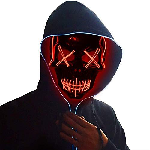 Ankuka Halloween Maske, LED Purge Maske mit 3 Blitzmodi, Halloween Purge Maske für Karneval Fasching Party Cosplay Kostüm Dekoration, Rot