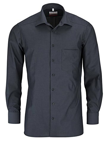 MARVELIS Comfort Fit Hemd Langarm New Kent Kragen anthrazit, Größe 42, Farbe Anthrazit