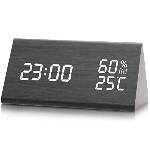Despertador, Higrómetro, Termómetro Digital, Brillo de 3 Niveles, Temperatura y Humedad, Reloj de Alarma de Grano de Madera, Año, Mes, Datos, 12/24 Horas, 3 Alarmas Programables