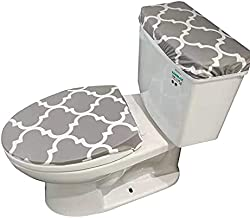 Madeals Toilet Lid Cover and Toilet Tank Lid Cover Fabric Cover for A Lid Toilet Tank Grey Pattern