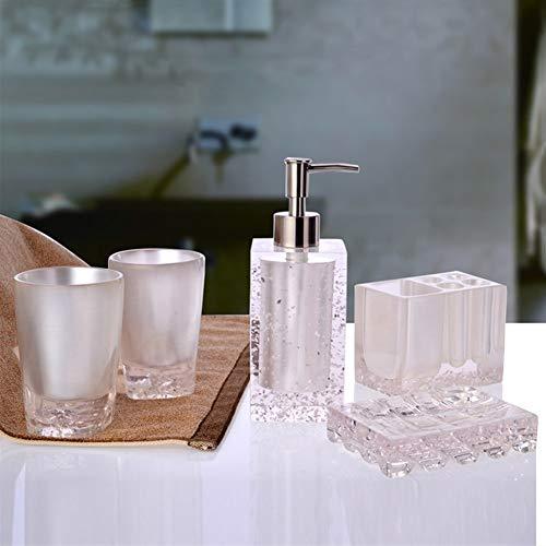 FxsD Badezimmer-Set, Set aus 5 europäischen Kreativ-Sets aus Kunstharz mit Tray-Kombination for Mundspülungen, 6 Farben, 2 Kombinationen Duschraum (Color : White, Size : Five-piece)