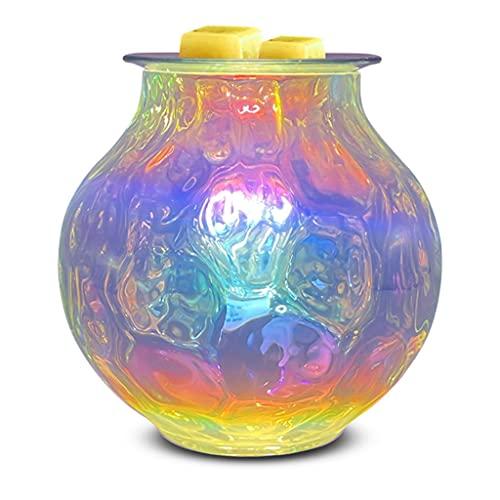 JDKC- Luz de Ondas de Arco Iris Vidrio de Arte Quemador de Derretimiento de Cera de Aromaterapia, Calentador de Cera de Vela para Cera Perfumada Se Derrite, Lámpara Decorativa para Casa