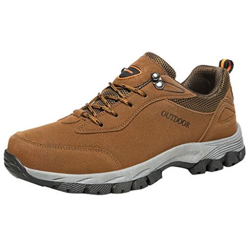 YWLINK Senderismo Zapatos Nuevos Al Aire Libre Zapatos para Caminar Moda Casual Zapatillas Antideslizante Transpirable Zapatillas Running Hombre Resistente Al Desgaste Mocasines Regalo(Marrón,46EU)