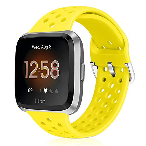 Runostrich Sport Strap Compatible with Fitbit Versa 2/Fitbit Versa/Versa Lite/SE, Soft Silicone Band Replacement Breathable Wristband Accessories for Smart Fitness Watch for Women Men (Flash)