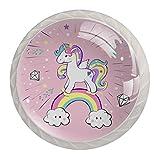 Tiradores para muebles niños Unicornio Diamante Perilla del cajón cristal Perillas del gabinete Creativo Manija del cajón 4 piezas Para Habitación Infantil,blanco 3.5×2.8CM
