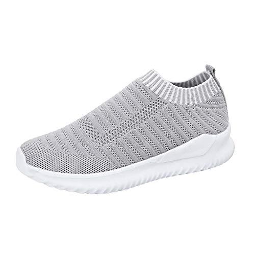HWTOP Sportschuhe Damen Socken Schuhe Leichtes Turnschuhe Atmungsaktive Gewebe Fliege Laufschuhe Freizeitschuhe Frühling und Sommer Sneakers, Grau, 41 EU