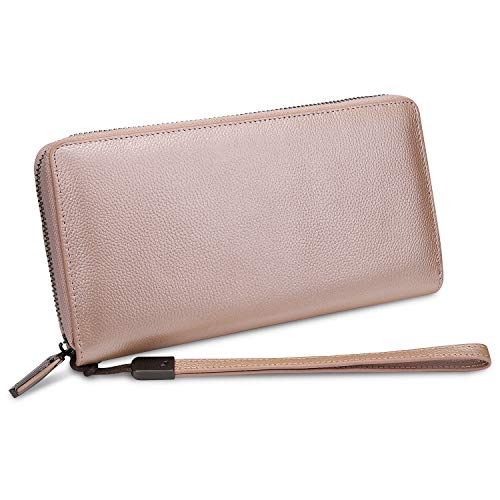 Geldbörse Damen Echtleder YALUXE Brieftasche RFID-Blockierung Echter Reißverschluss Kupplung Große Reise Armband Rosa