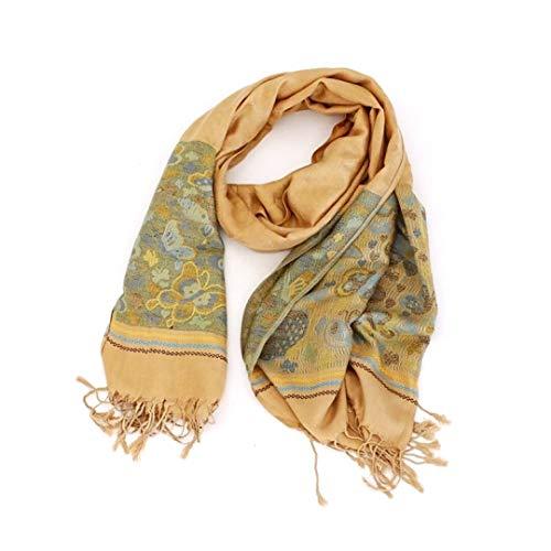 Novadis Pashmina - Sciarpa lunga da donna, foulard con stampa cachemire, elegante motivo cachemire, colore: beige