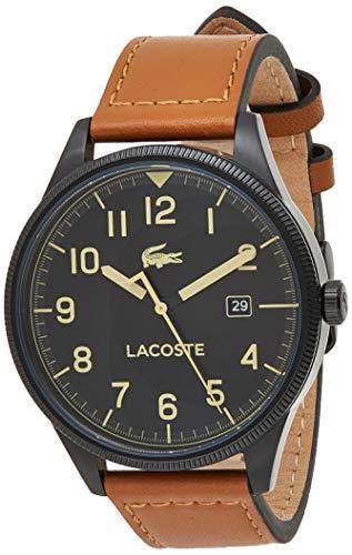 Lacoste Herren Analog Quarz Armbanduhr mit Lederarmband 2011021