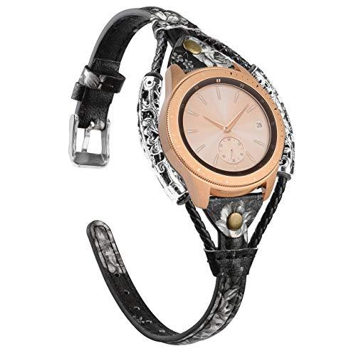 Glebo Leder Armband Kompatibel mit Samsung Galaxy Watch 3 41mm /Galaxy 42mm /Active 40mm /Active 2 (40mm/44mm) für Damen, 20mm Vintage Ersatzband für Samsung Gear S2 Classic/Gear Sport,Schwarz Weiß