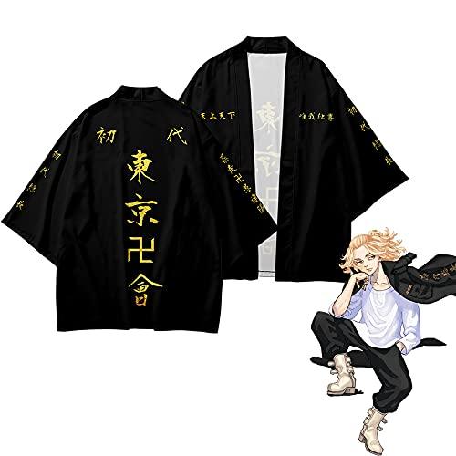Anime Tokyo Revengers Coat Cape, Ryuguji Ken Disfraz de Cosplay Black Cool Coat Jacket Tops Abrigo Uniforme Halloween Carnival Cape para Mujeres Hombres